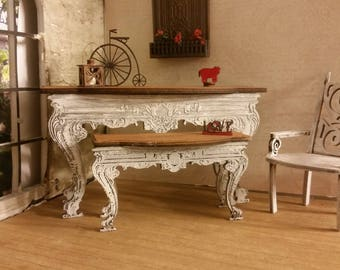 Miniature Dollhouse Small Console Table Large or Small French Rococo Style Real Cherry Wood Top 1:12 scale