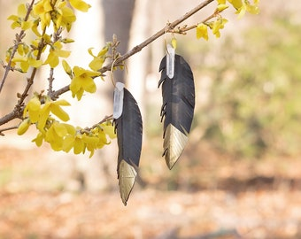 Long Feather Earrings-Faux Leather-Crystal Earrings-Upcycled Bicycle Inner Tubes-Festival-Bridesmaid Gift-Gold Dipped-Bohemian Earrings