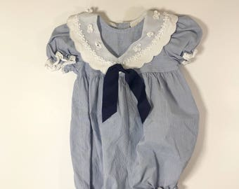 Blue and White Striped Baby Girl Sailor Romper, Size 12 Months, Baby Sailor Outfit