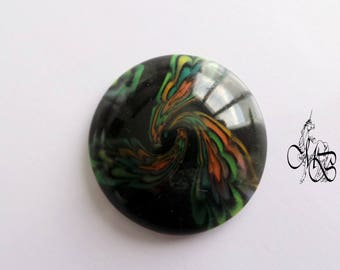 Flowers on black polymer clay cabochon