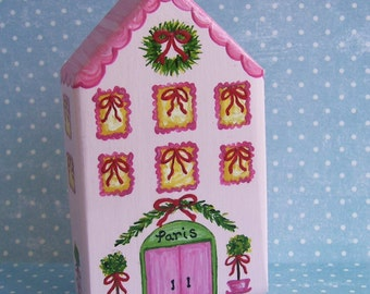 Hand Painted Love Boxes Christmas Village Paris Hotel Pink