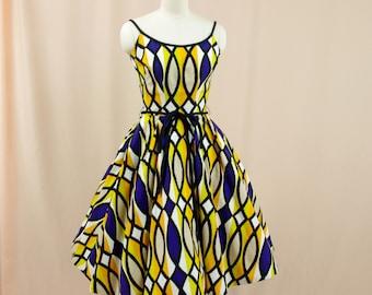 1950s Betty Carol Dress * 50s Dress * Full Skirt Dress * 50s Dress * 50s Cotton Sundress * 50s Rockabilly Dress * Purple and Yellow Dress
