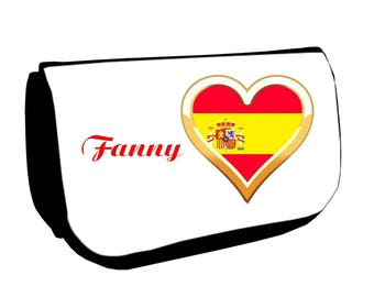 Black cosmetic case /crayons Spain customized with name