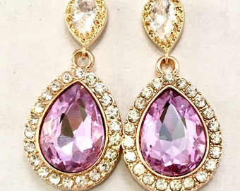 Wedding jewelry bridesmaid earrings crystal drop earrings custom color purple bridesmaid earrings gold crystal earrings purple earring