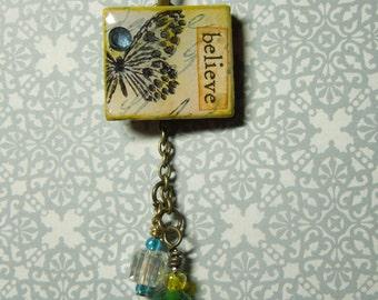 Believe Butterfly Scrabble Tile Pendant Crystal Yellow Green Glass Beads w/Chain