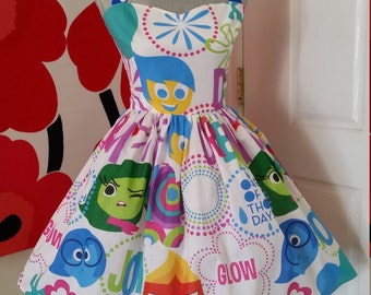 Custom Made to Order Disney Inside out Sweet Heart Dress Sz X-Small to 3X