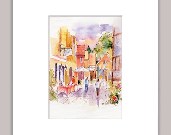 Home Wall Decor - Original Watercolor Sunny Street Scene 6 x 4 Plus Mat - Wall Hanging