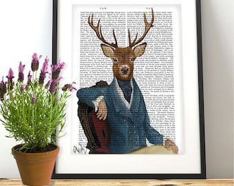 Distinguished Deer Portrait  Deer Art Print Woodland Nursery décor man cave décor country home décor Country house gift for brother Dad Gift