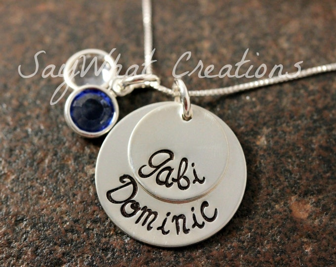 Sterling Silver Stacked Two Disk Necklace Custom Hand Stamped Perfect for mothers with two children