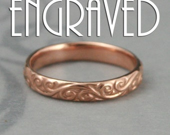 Rose Gold Ring~Patterned Band~Flourish Ring~Inside Ring Engraving~14K Gold Band~Engraved Ring~Men's Wedding Band~Women's Wedding Ring