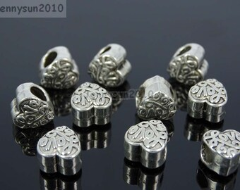 Loving Heart Tibetan Silver Big Hole Connector Metal Spacer European Charm Beads Jewelry Design Findings Crafts #1
