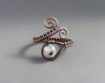 Tourmalinated quartz ring, healing stone jewelry, anniversary gift for women, black & white stone ring