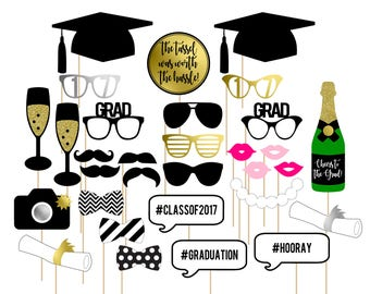 Printable Graduation Photo Booth Props . 2017 Graduation . Graduation . Class of 2017 . Party . Gold/Silver/Black .  Instant Download