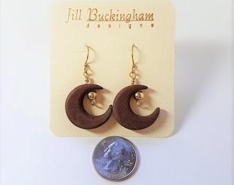 Earring Wood Half-Moons & Gold