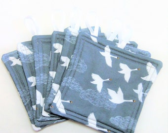 Swan Drink Coasters, Set of 6 Coasters, Quilted Snack Mat, Quilted Drink Mat, Quilted Mug Rug,  Drink Fabric Mat, Sewnsewsister
