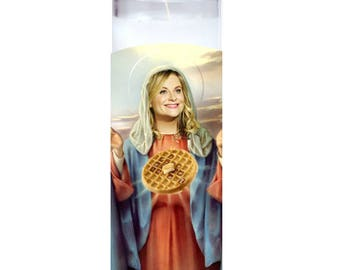 Leslie Knope Saint Candle - Parks Department Wonder & Waffle Lover - Amy Poehler