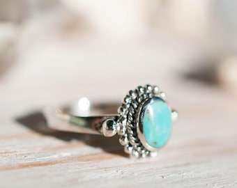 Turquoise Ring ~ Sterling Silver 925 ~ Handmade ~ Everyday ~Statement ~Stackable ~Round Shape ~Gift for her ~Boho ~ Hippie ~Bohemian MR014