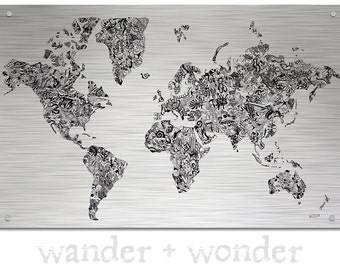 Artsy world maps for those who like to by wanderwonderworldmap large world map on metal doodles gumiabroncs Image collections