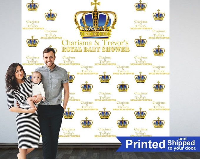 Featured listing image: Royal Baby Shower Photo Backdrop - First Birthday Prince Step and Repeat Photo Backdrop-Photo Booth Personalized Backdrop, Printed Backdrop