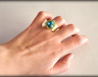 Nest Ring, Brass Ring, Chevalier Ring, Turqoise Ring, Gemstone Ring, Unconventional Ring, 18K gold plated