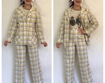 Vintage 1960's Jacket and Pant Suit in Yellow Plaid