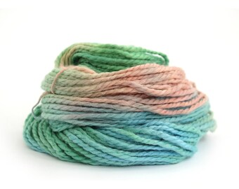 Handdyed chunky yarn, bulky baby alpaca knitting crochet wool, Perran Yarns Years Gone By airy blue salmon pink green yarn hank, uk seller