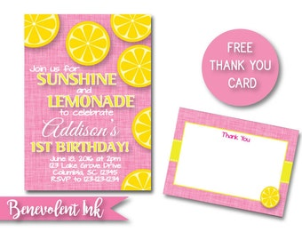 Lemonade Birthday Invitation - First Birthday Lemonade Party Invitation - Printable 1st Birthday Invite