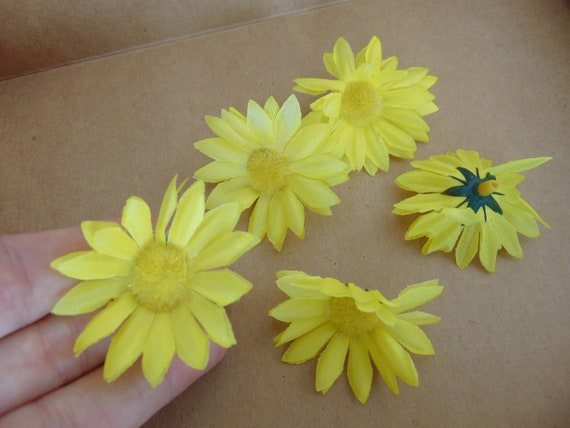 Card making fake flower embellishments artificial daisiesyellow card making fake flower embellishments artificial daisiesyellow flowersscrapbooking fabric flowersfaux flowers cardmaking craft supplies from mightylinksfo Images