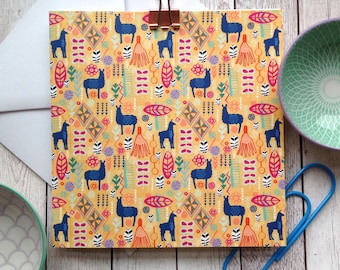 Llama Card, Llama Pattern, Birthday Card, Note Card, Llama Lover, Thank You Card, Friendship Card, Coworker, Best Friend, Animal Lover Cards