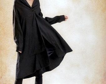 Black Linen Coat Jacket, Linen Trench Coat, Linen Jacket, Long Coat Jacket, Linen Coat, Women Designer Coat, Swing Coat Winter Coat