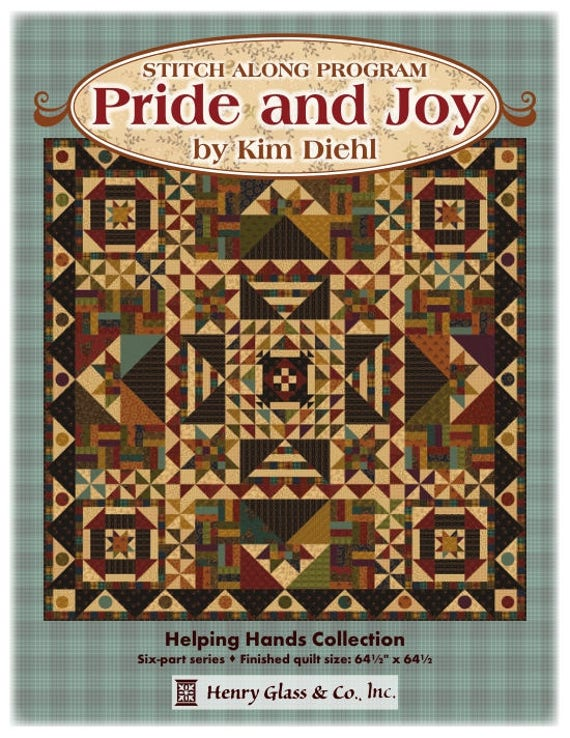 Pride And Joy Kim Diehl Quilt Kit. Scrappy Primitive Gathering Of Bold Rich Prints And Yarn Dye Plaids. Includes Block of the Month Pattern