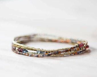 Stretch Bracelet with Garnet & Moss Aquamarine, Delicate Beaded Seed Bead Necklace, Seed Bead Jewelry, Boho Chic Multi Wrap Bracelet