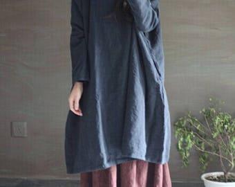 Loose Fitting Linen Shirt Blouse for Women - Women Clothing