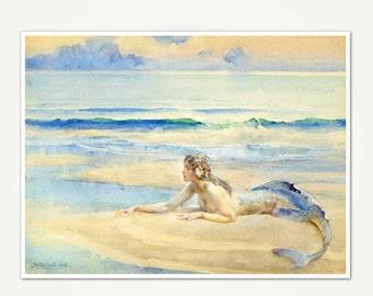 Mermaid Print - Vintage Mermaid Watercolor Painting Print - Mermaid Fine Art Print