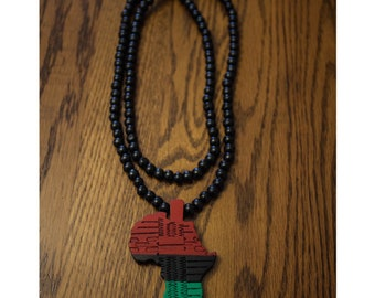 Red Black and Green Africa Pendant Necklace