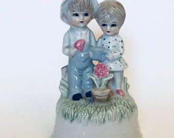 Vintage Sankyo Japan Music Box - Boy and Girl Figurine
