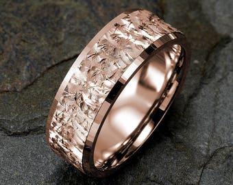 Mens Wedding Band, 14k Rose Gold Ring, Mens Wedding Ring, Solid Gold Band, Mens Ring 8mm, Rose Wedding Bend, Personalized Ring
