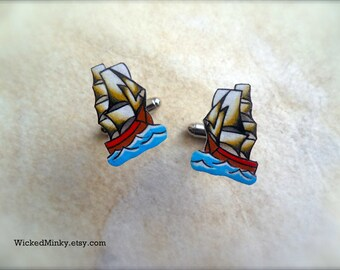 Vintage Nautical Tattoo Pirate Ship with Sails and Ocean Waves Unique Rockabilly Cufflinks