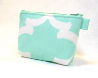 CLEARANCE SALE! Mint Green White Quatrefoil Fabric Bridesmaid Gift Cosmetic Bag Zipper Pouch Makeup Bag Gadget Pouch Flynn Lattice Aqua