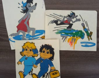 Vintage iron stickers for T-shirt from 80's 3 pieces cartoon characters Stickers for cloth Collection For kids Wolf Bunny Olympic games