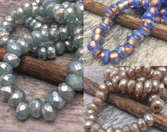 LARGE HOLE 6x9mm Czech Glass Roller Beads 3mm hole, your color choice, from Dream Girl Beads