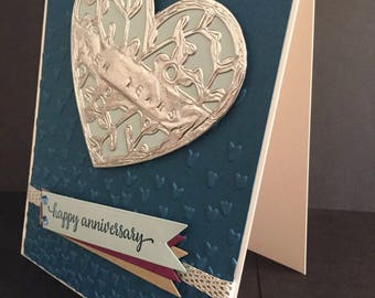 SAMPLE - Anniversary Card, Any Year Anniversary Card, Tin Anniversary Card, Elegant Anniversary Card, Floral Heart Anniversary Card
