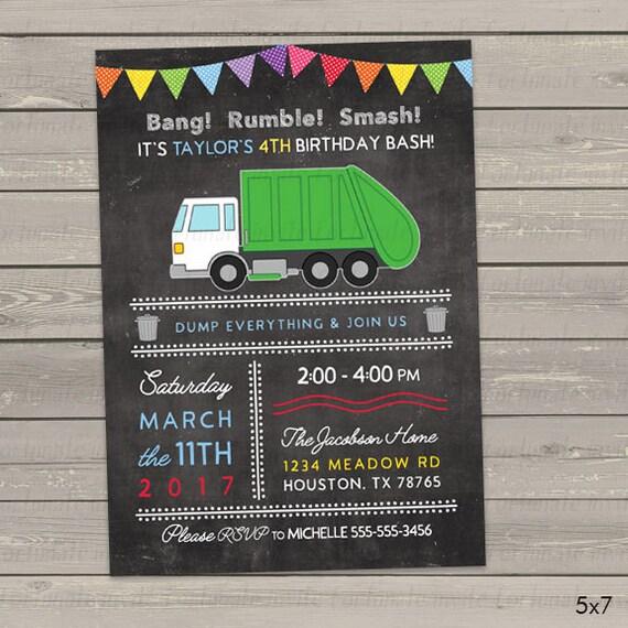 Garbage truck birthday invitation for boys or girls trash filmwisefo
