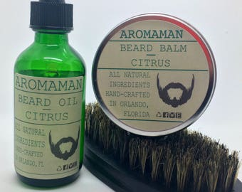 Aromaman Beard Care All-Natural Hand Crafted Beard Oils, Balms and Beard Brush. Choose your scent and size!