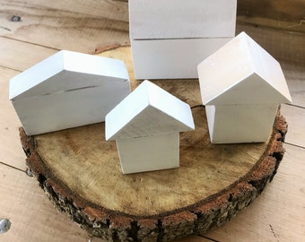 Handmade Rustic White Enamel Painted Wooden Houses Set Scandinavian Minimalist Decor