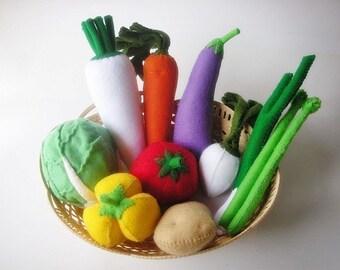 Lovely Vegetables Set 2 PDF Felt Sewing Pattern  (10 different vegetables inlcude)
