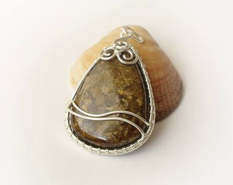 sterling silver wire wrap pendant with bronzite teardrop cabochon
