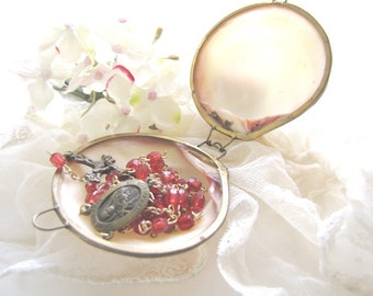 Antique Rosary Case Mother of Pearl Trinket Case French Shell Case from AllieEtCie