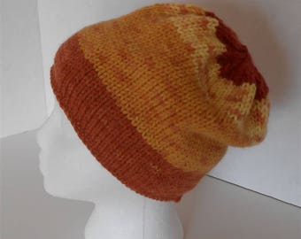 Hand Knit Hat, Slouchy Hats Rolled Brim Beanie, Acrylic Hats