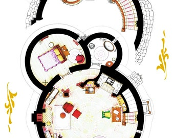 Floorplans of Rapunzel's Tower from TANGLED - Poster Version